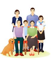 老夫婦と親子の三世代ファミリーと犬 07045000104| 写真素材・ストックフォト・画像・イラスト素材|アマナイメージズ