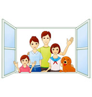 窓辺に立つ笑顔のファミリーと犬 07045000124| 写真素材・ストックフォト・画像・イラスト素材|アマナイメージズ