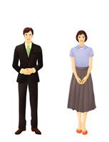 スーツを着た男女ビジネスイメージ(イラスト)