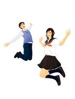 ジャンプする学生男女