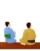 縁側で空を見上げる浴衣のカップル(イラスト)