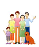 3世代ファミリーと犬(イラスト) 07045000147| 写真素材・ストックフォト・画像・イラスト素材|アマナイメージズ