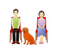 椅子に腰掛ける老夫婦と犬(イラスト)