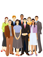 多人種の男女の群衆(イラスト) 07045000156| 写真素材・ストックフォト・画像・イラスト素材|アマナイメージズ