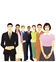 多人種の男女の群衆(イラスト)