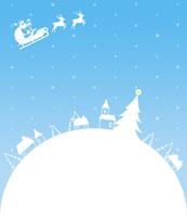 クリスマスツリーとサンタクロースと雪の街