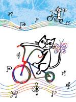 自転車に乗るネコ(イラスト)