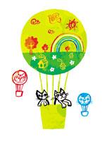 気球に乗るネコ(イラスト)