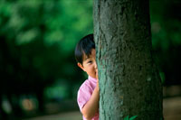 木の陰に隠れる男の子