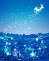 夜空に浮かぶサンタとトナカイ 07123000401| 写真素材・ストックフォト・画像・イラスト素材|アマナイメージズ
