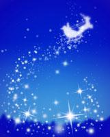夜空に浮かぶサンタとトナカイ