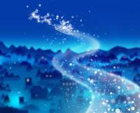 夜空に浮かぶサンタとトナカイ 07123000407| 写真素材・ストックフォト・画像・イラスト素材|アマナイメージズ