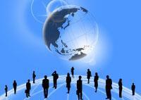 地球とビジネスマンとビジネスウーマン