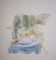 屋外のテーブルセッティング イラスト 09016000055| 写真素材・ストックフォト・画像・イラスト素材|アマナイメージズ