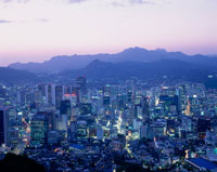 南山から見たソウル市街の夕景