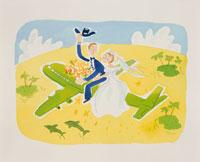 飛行機とウェディングカップルのイラスト