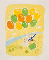 風船のゴンドラに乗るウェディングカップルのイラスト