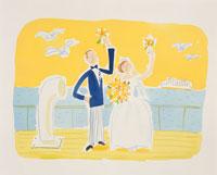 船の上のウェディングカップルのイラスト
