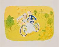 自転車に乗るウェディングカップル