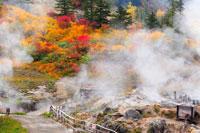 ふけの湯温泉の紅葉の露天風呂 20005005803| 写真素材・ストックフォト・画像・イラスト素材|アマナイメージズ