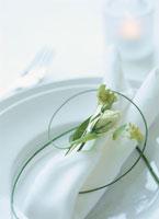 白い皿の上のナプキンと花のアップ