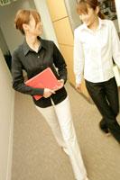 ファイルを持ち廊下を歩く女性2人