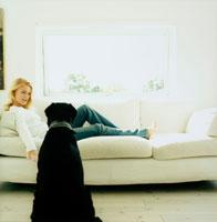 ソファでくつろぐ女性と犬