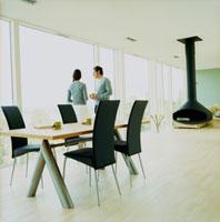 リビングの窓辺に立つ外国人カップル 20010001414| 写真素材・ストックフォト・画像・イラスト素材|アマナイメージズ