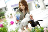 フラワーショップの花を見る女性と犬