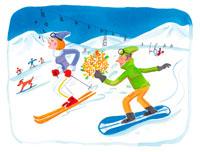 スキー場でスキーとスノーボードで滑る男女