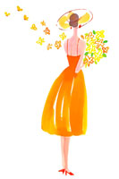 花束を持った女性後姿