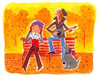 秋の公園で音楽を楽しむ男女 20010001879| 写真素材・ストックフォト・画像・イラスト素材|アマナイメージズ