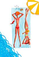 水着姿で寝そべる女性2人俯瞰 20010001882| 写真素材・ストックフォト・画像・イラスト素材|アマナイメージズ