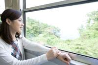 列車の車窓から外を眺める女性