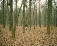 秋の森林を歩くランチバスケットを持った女性後姿
