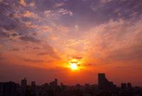 朝焼けの仙台市全景