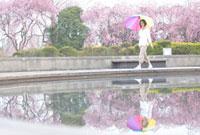 カラフルな傘を差しながら池の側を歩く女性