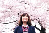 桜と女子学生