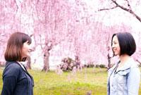 桜咲く公園で向い合う女性2人