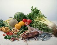夏の魚介と野菜