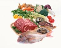 牛ロース、魚介と野菜