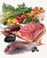 肉、魚介と野菜 20013005630| 写真素材・ストックフォト・画像・イラスト素材|アマナイメージズ