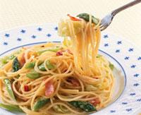 スパゲティ(アスパラガス、キャベツ)