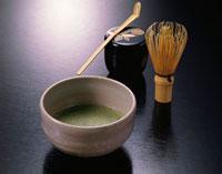 抹茶の入った器と茶道具