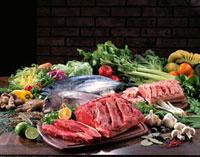 肉と魚介と野菜 20013023534| 写真素材・ストックフォト・画像・イラスト素材|アマナイメージズ