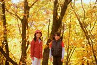 秋の林の中の女の子2人 20014001116| 写真素材・ストックフォト・画像・イラスト素材|アマナイメージズ