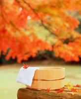 紅葉と桶と手ぬぐい 20014002031| 写真素材・ストックフォト・画像・イラスト素材|アマナイメージズ
