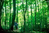 林の中の女の子2人