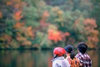 紅葉の木々と子供3人後姿 20014002746| 写真素材・ストックフォト・画像・イラスト素材|アマナイメージズ