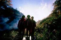 秋の野山の中の子供3人 20014002750| 写真素材・ストックフォト・画像・イラスト素材|アマナイメージズ